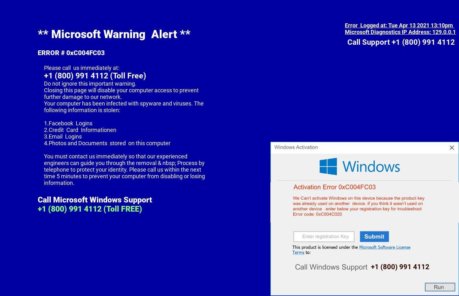 Cyber criminals use malvertising Microsoft scam
